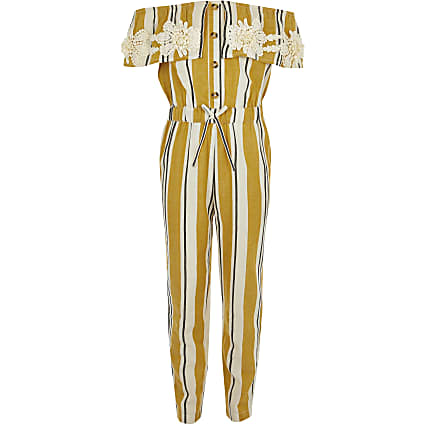 Girls yellow stripe bardot jumpsuit