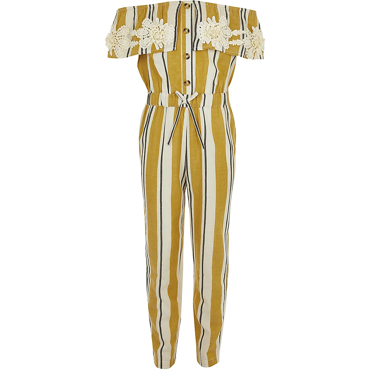 Girls yellow stripe bardot jumpsuit