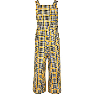 Girls yellow check jumpsuit