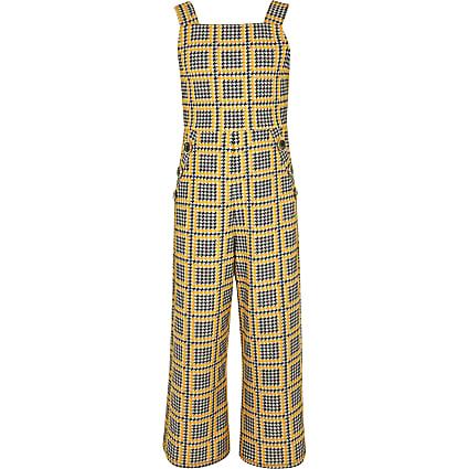 Girls yellow check jumpsuit