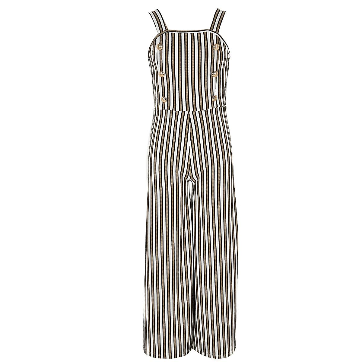 Girls khaki stripe jumpsuit
