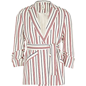 Girls red stripe belted blazer