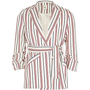 Rode blazer met strepen en ceintuur voor meisjes