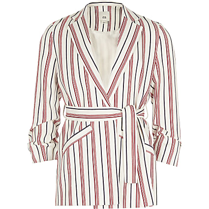 Girls red stripe belted blazer