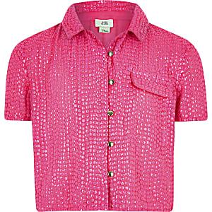 Roze overhemd met lovertjes voor meisjes