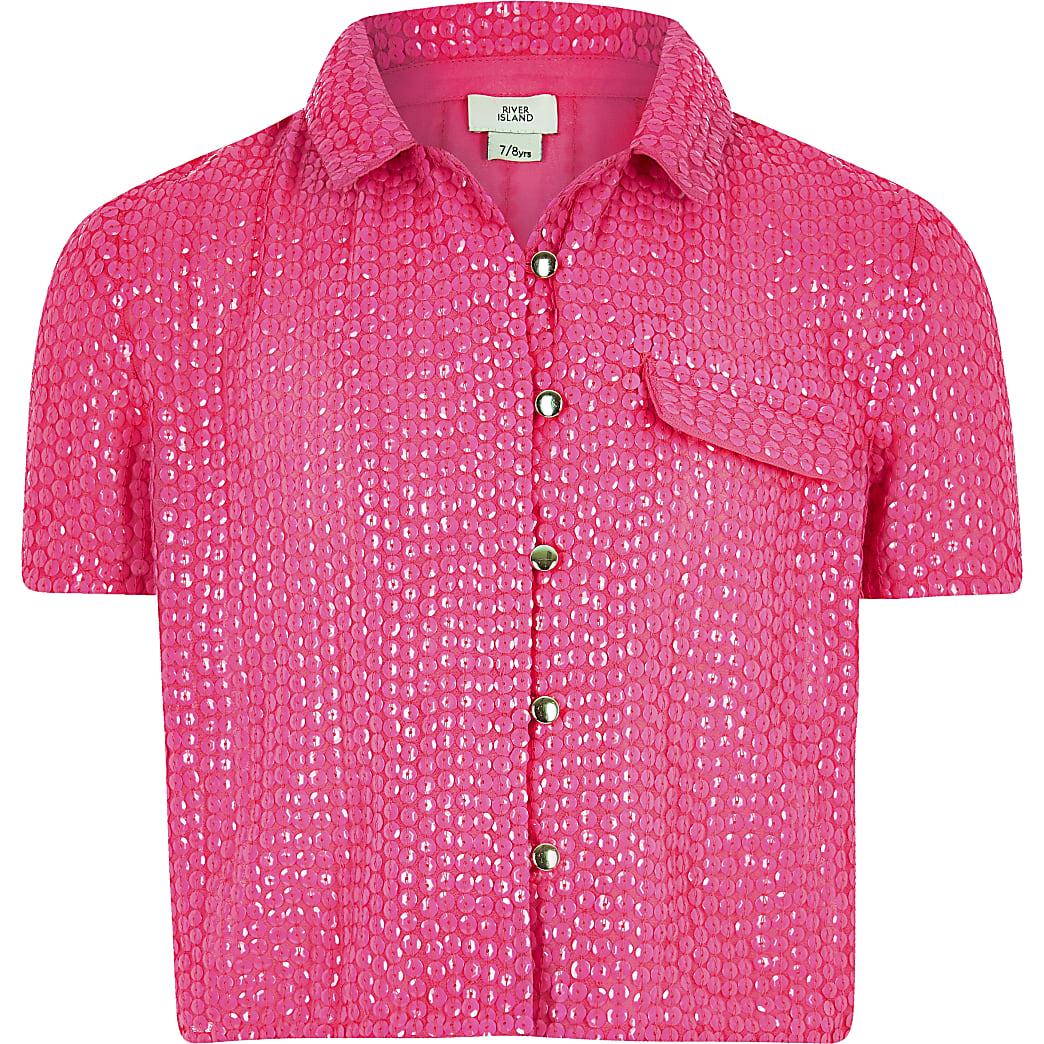 Girls pink sequin embellished shirt