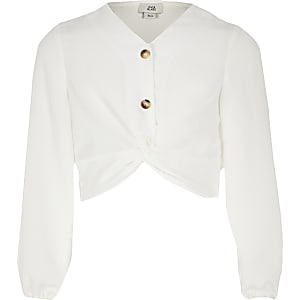 Girls white twist front top