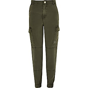 Girls khaki utility trousers