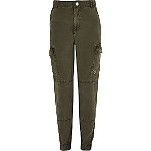 Kaki utility broek voor meisjes