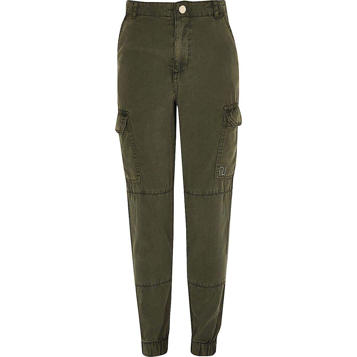 Girls khaki utility trousers