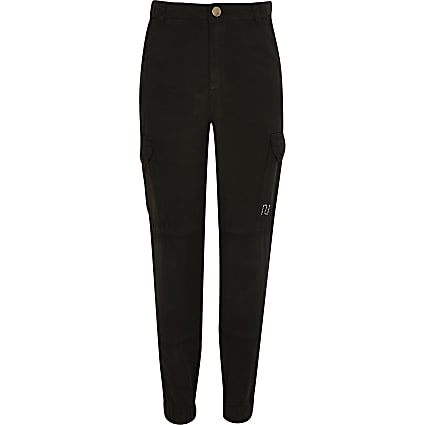 Girls black utility trousers