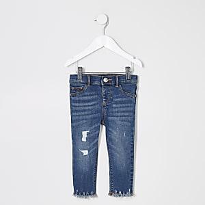 Mini - Molly - Blauwe ripped jeans met halfhoge taille voor meisjes