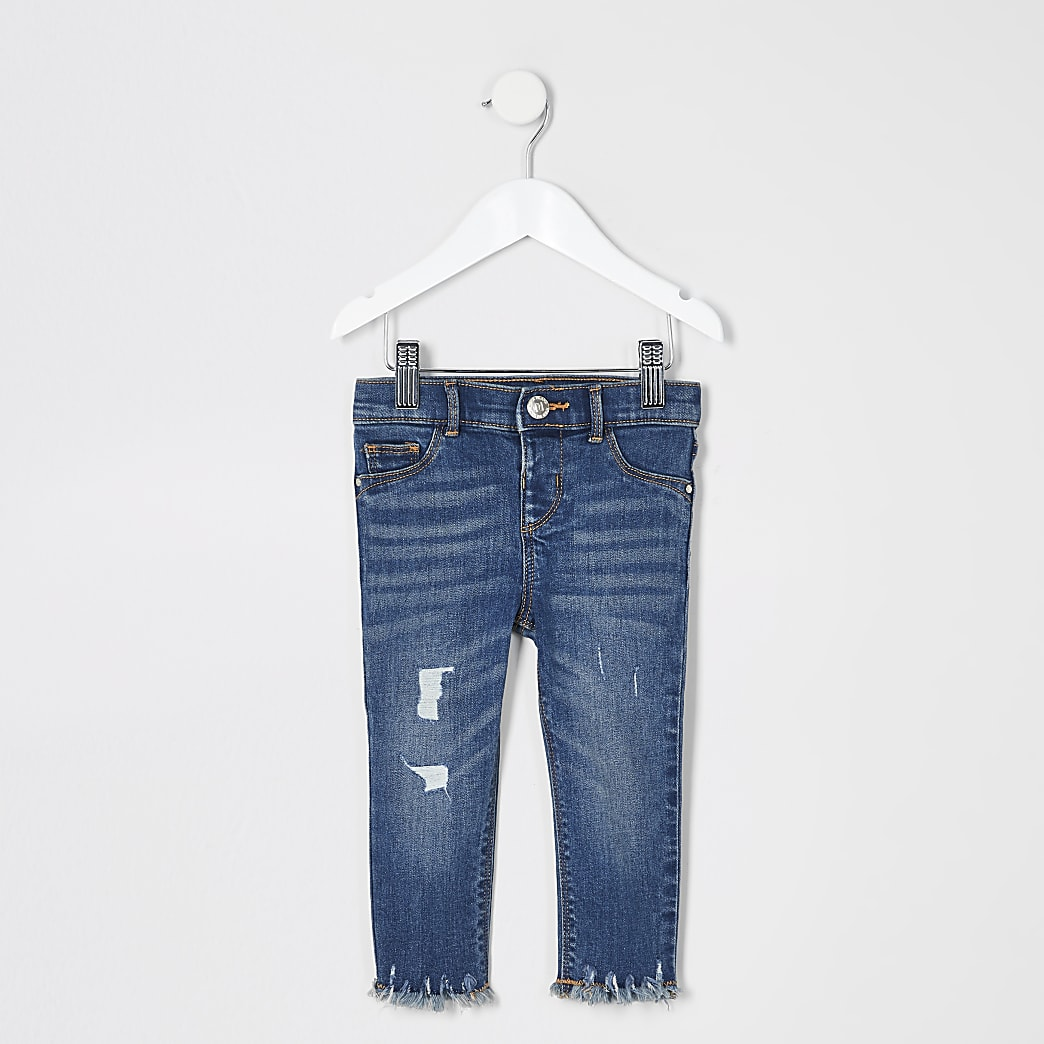 Mini girls blue ripped Molly mid rise jeans