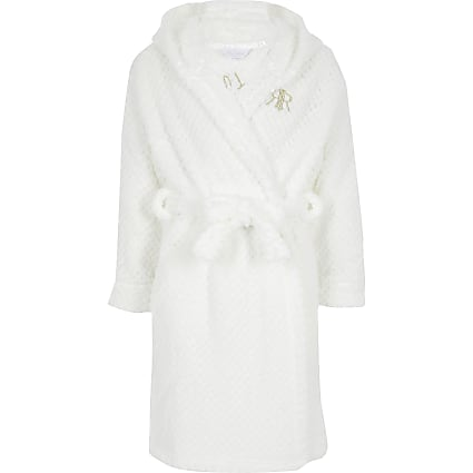 Girls angel wing white dressing gown