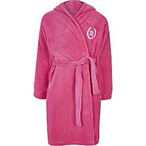 Pinkfarbener, flauschiger Love RI-Morgenmantel für Mädchen