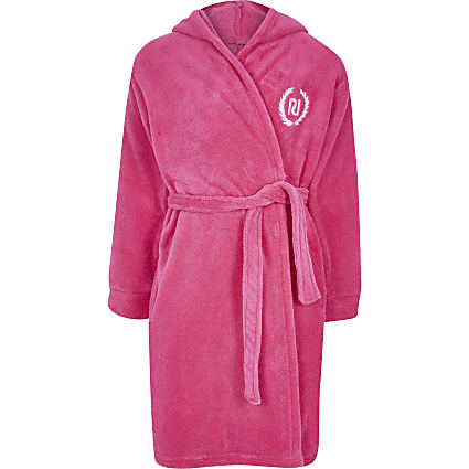 Girls pink Love RI robe fluffy dressing gown
