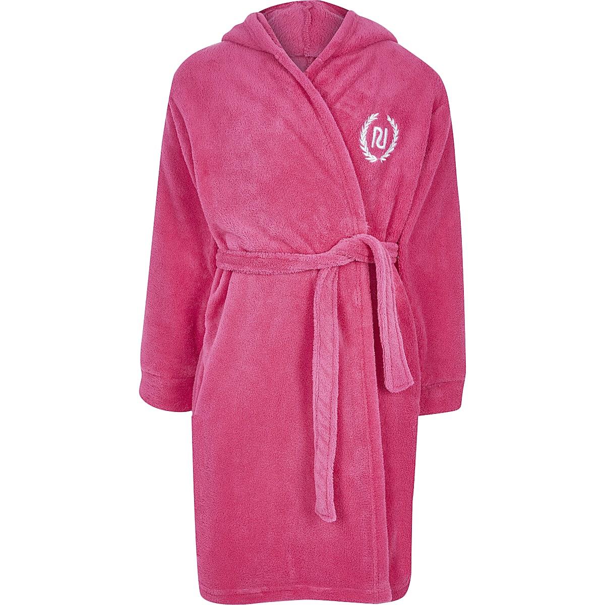 Girls pink Love RI robe fluffy dressing gown