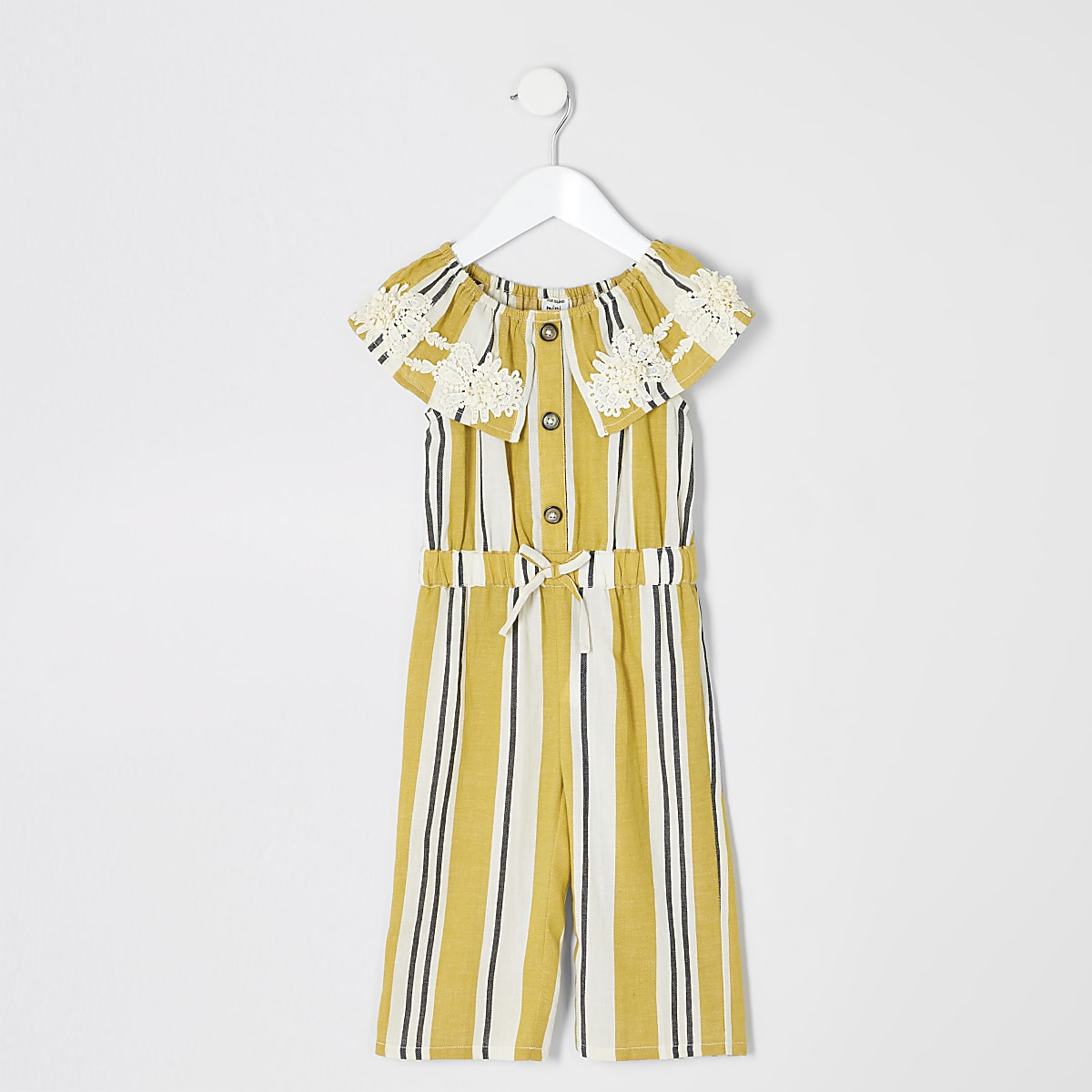 Mini girls yellow stripe bardot jumpsuit