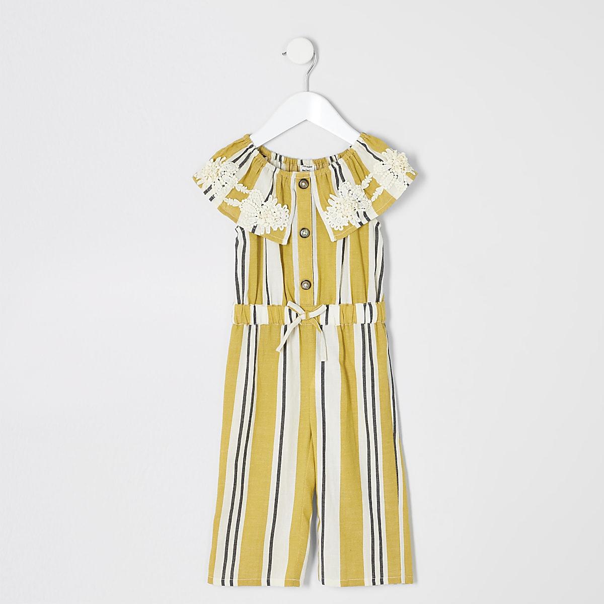 Mini - Gele gestreepte jumpsuit in bardotstijl voor meisjes