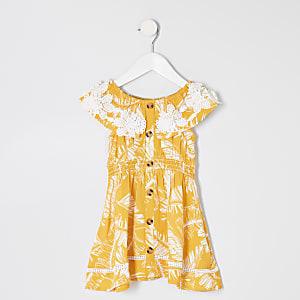 Robe Bardot imprimé palmier jaune mini fille