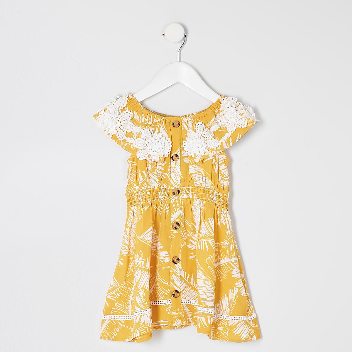 Mini - Gele bardotjurk met palmboomprint voor meisjes