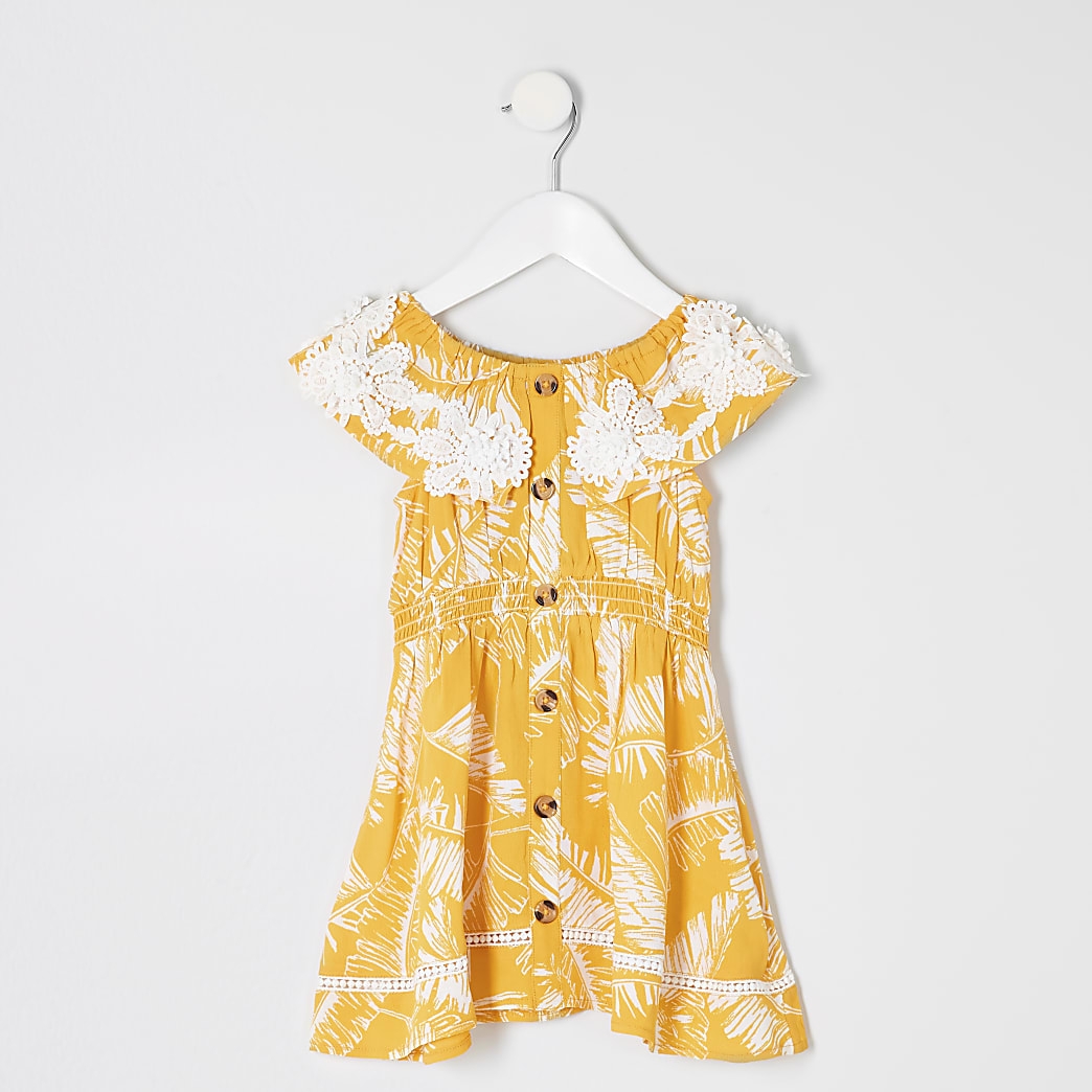 Mini girls yellow palm print bardot dress