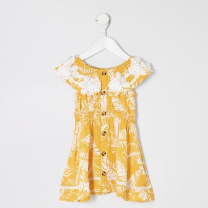 Mini girls yellow palm print bardot dress
