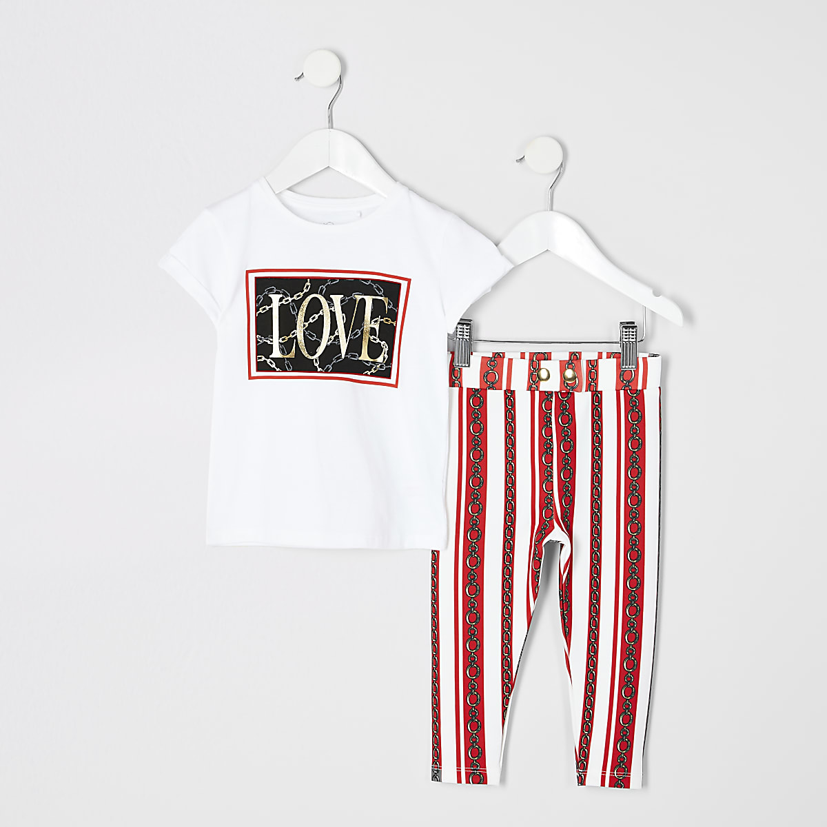 Mini girls white chain print T-shirt outfit