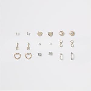 Multipack roségoudkleurige verschillende oorbellen voor meisjes