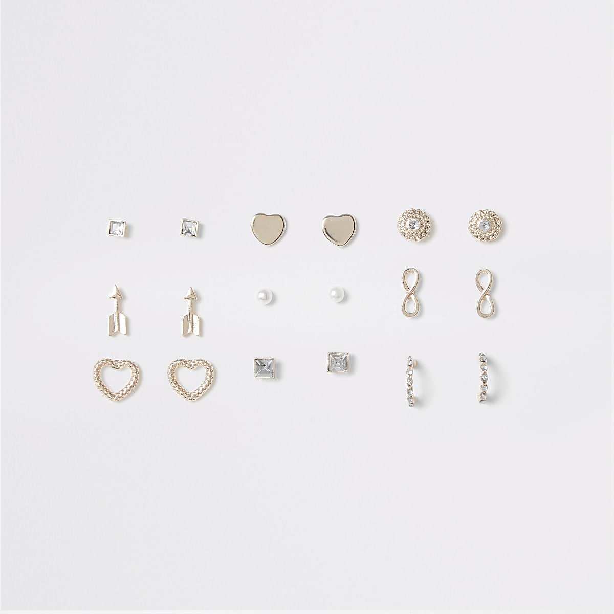Girls rose gold mixed earring multipack