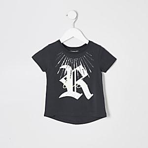 Mini - Grijs T-shirt met pailletten en print voor meisjes