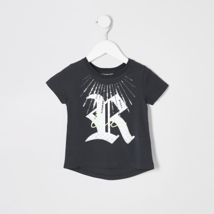 Mini girls grey sequin print T-shirt