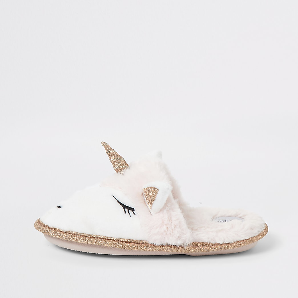 Girls pink unicorn glitter slipper