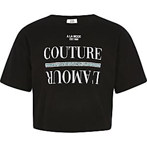 T-shirt noir avec bordure à strass pour fille