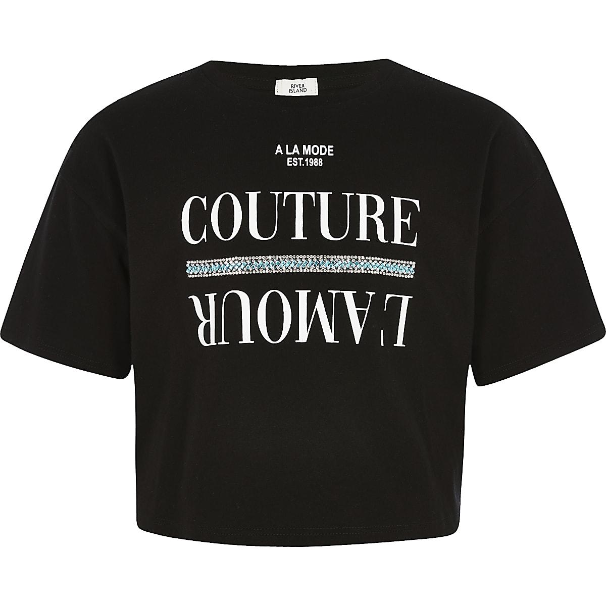 Zwart T-shirt met stras voor meisjes