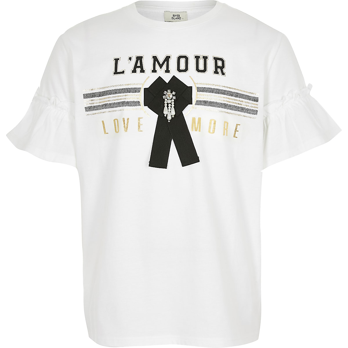 Girls white 'L'amour' bow T-shirt