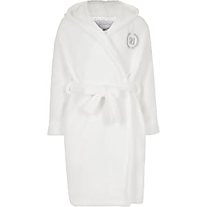 """Robe de chambre duveteuse """"Love RI"""" crème pour Fille"""
