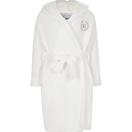 Girls cream 'Love RI' fluffy dressing gown