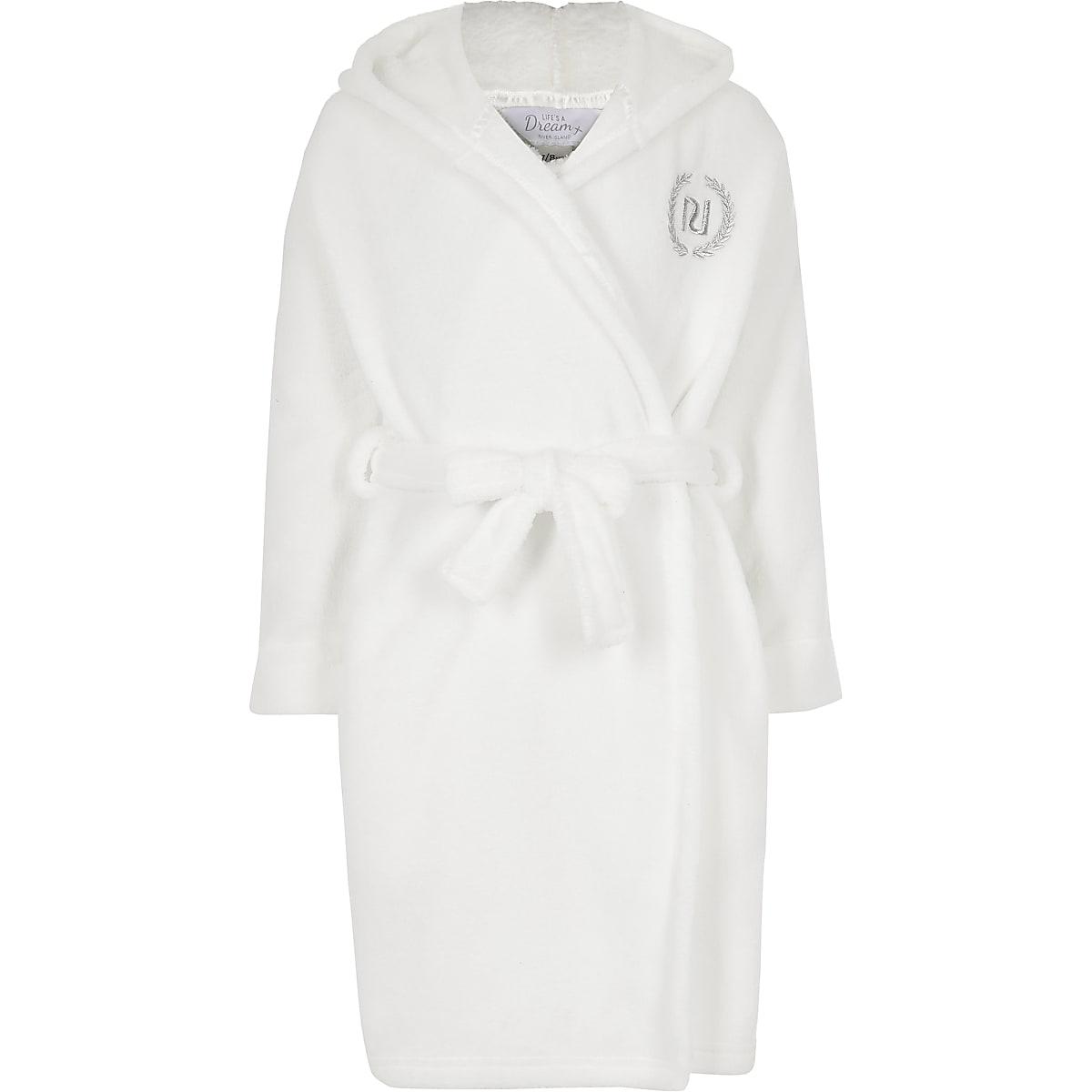 Crèmekleurige zachte badjas met 'Love RI'-tekst voor meisjes