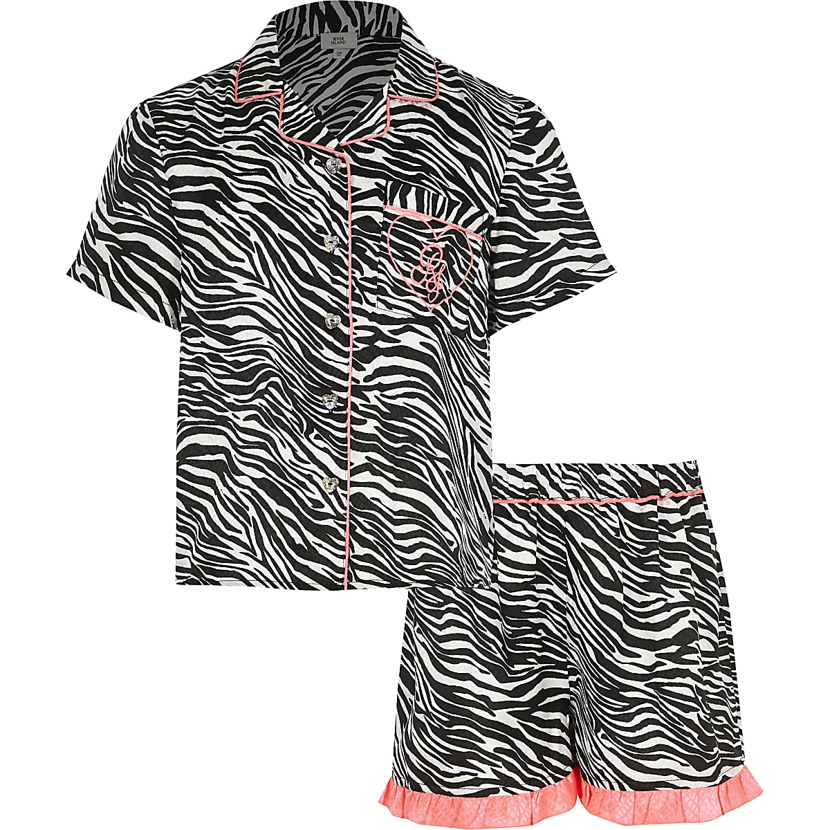 Girls black zebra print pyjama set
