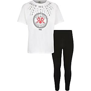 Ensemble avec t-shirt «show me love» blanc pour fille