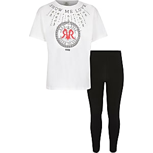 Outfit met 'show me love' T-shirt voor meisjes
