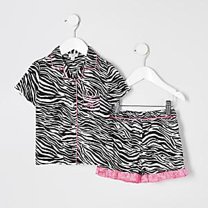 Mini - Zwarte pyjama met zebraprint voor meisjes