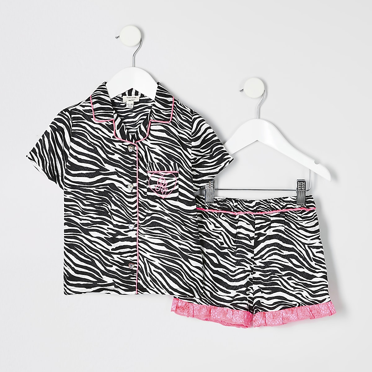 Mini girls black zebra print pyjamas