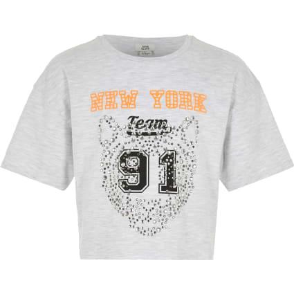 Girls grey diamante print cropped T-shirt