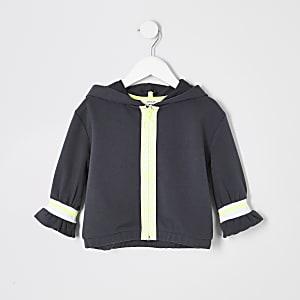 RI Active - Mini - Grijze hoodie met rits voor meisjes