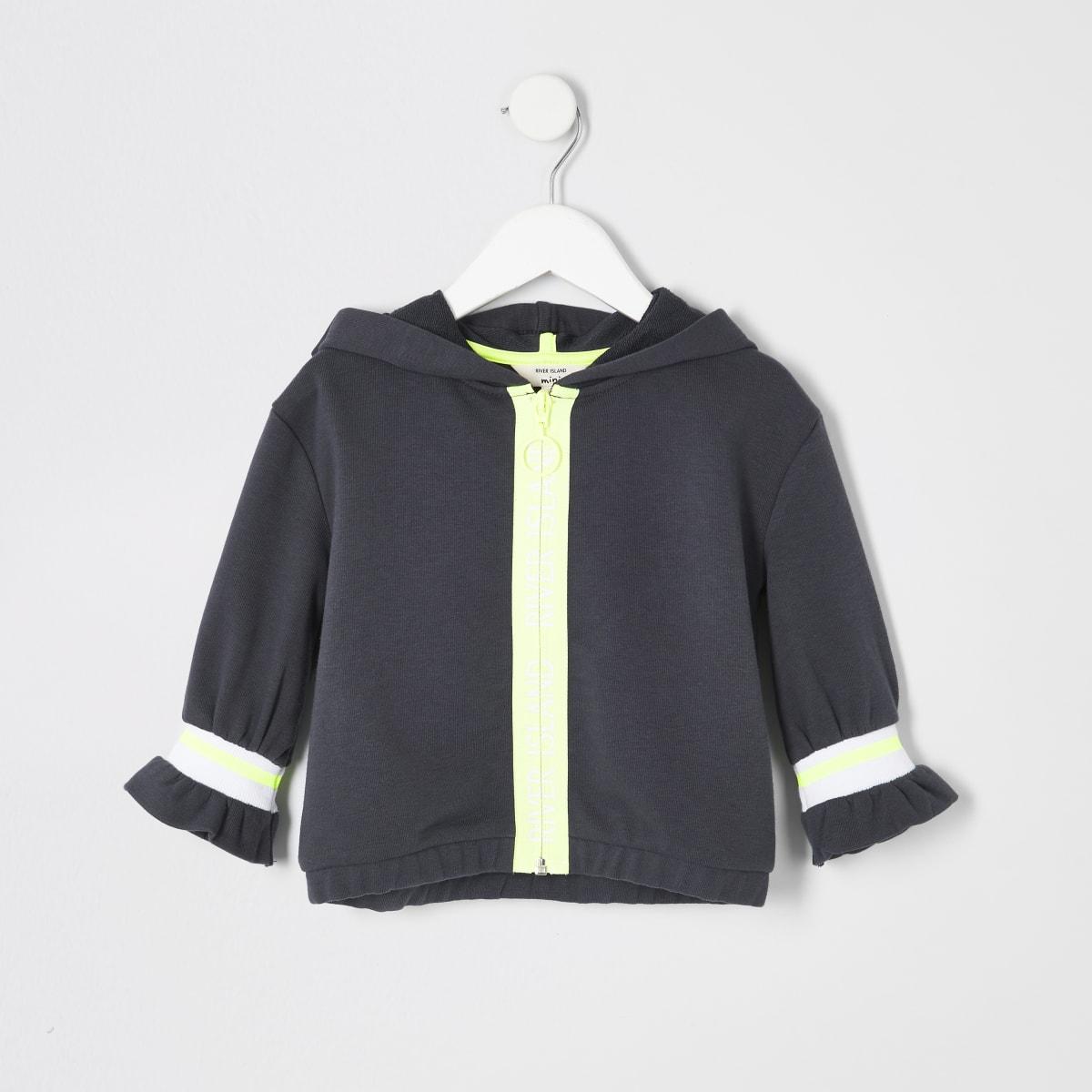 RI Active – Sweat à capuche gris zippé mini fille