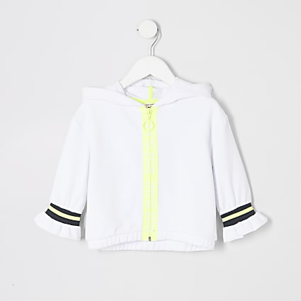 Mini girls RI Active white zip hoodie