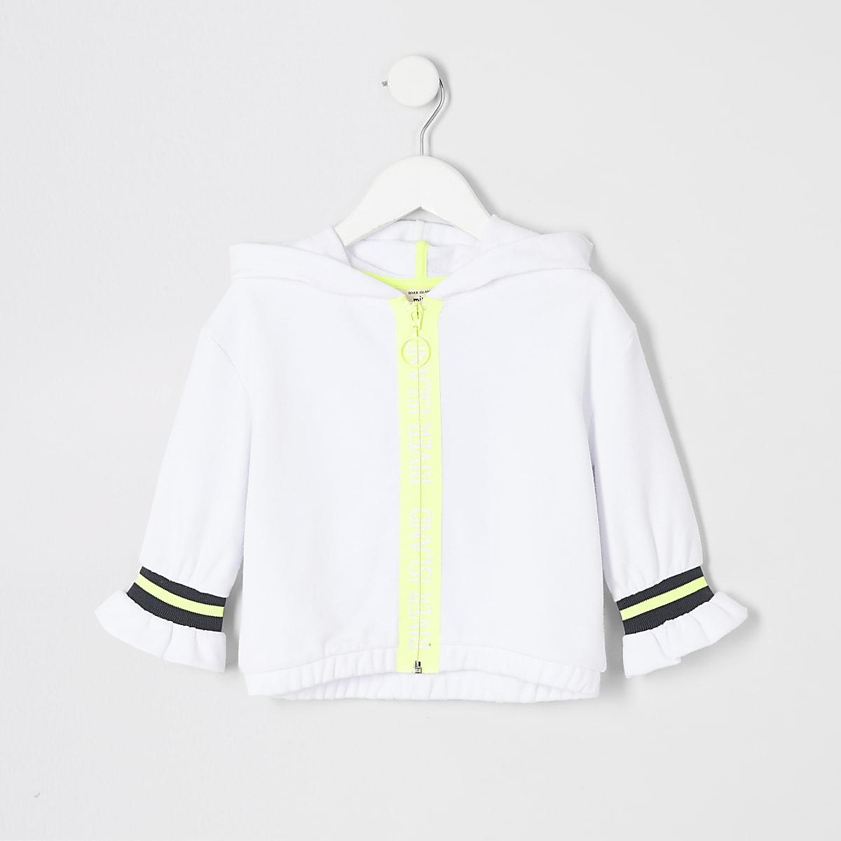 Mini girls RI Active white zip hoodie