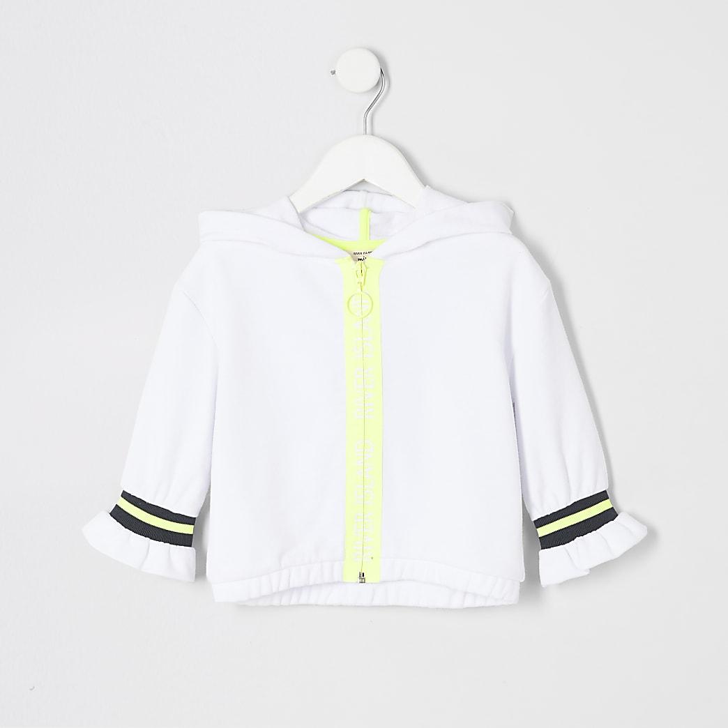 Mini - RI Active - Witte hoodie met rits voor meisjes